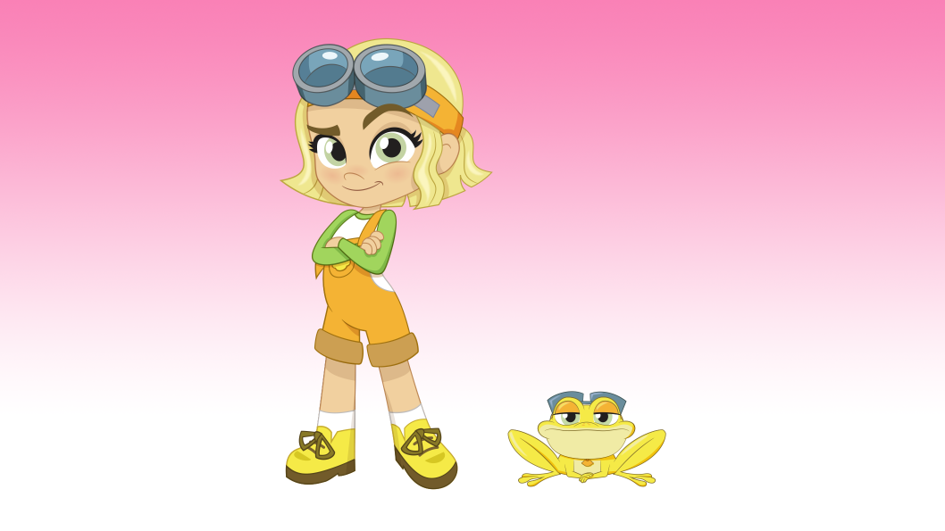 A girl with short yellow hair and blue goggles on her head, standing next to a yellow frog.