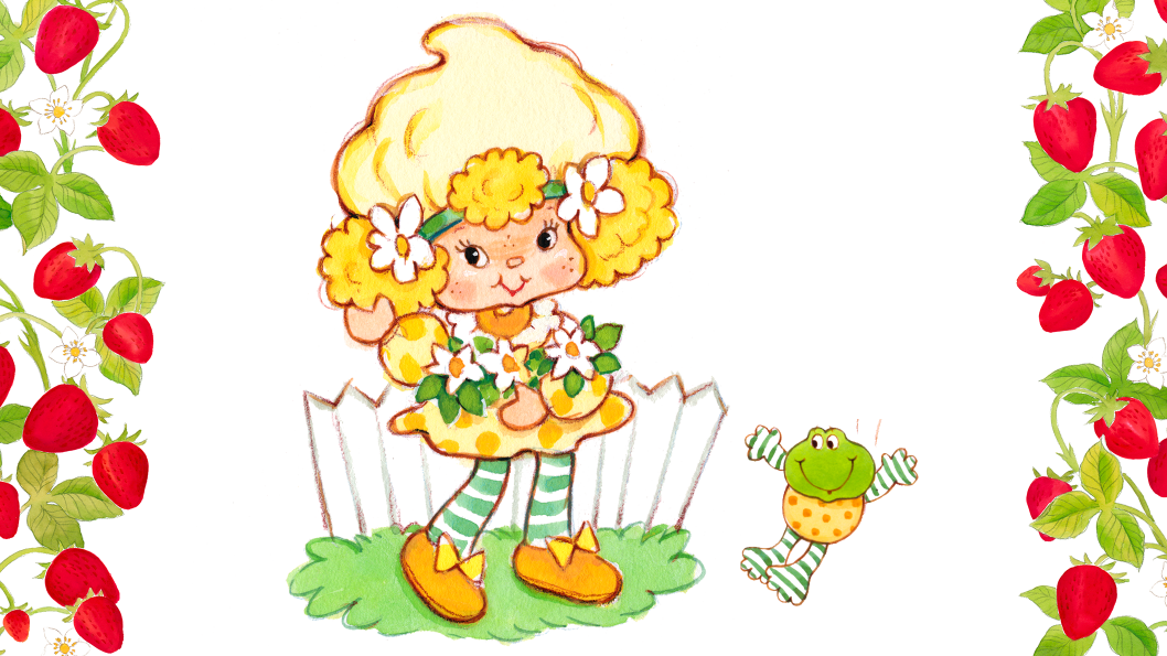 A girl with yellow hair, wearing a yellow dress standing on a patch of green grass.