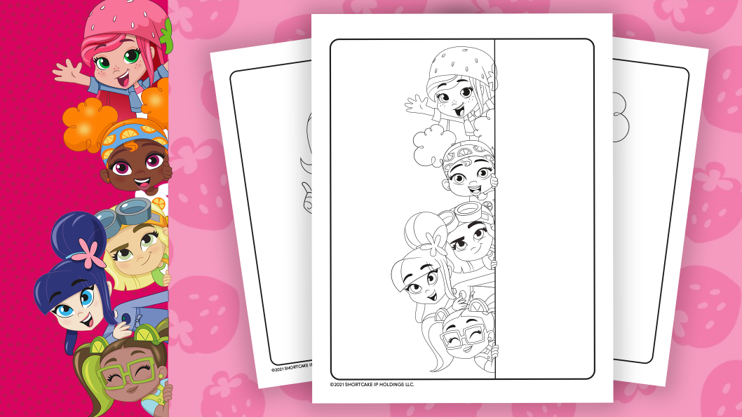 Strawberry Shortcake and friends colouring sheet