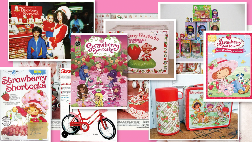 A collage of images of Strawberry Shortcake products and characters.