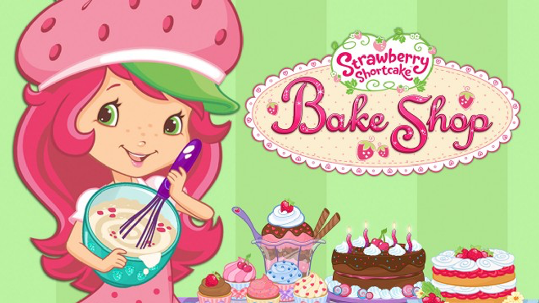 A girl with pink hair, wearing a large strawberry hat baking a cake.