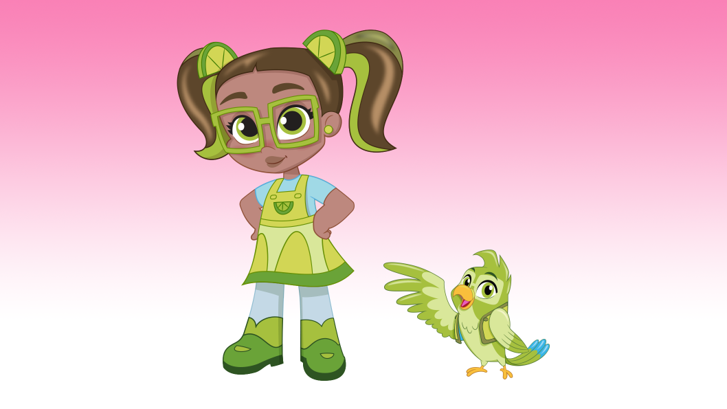 A girl with brown pigtails, wearing a green dress and green glasses standing next to a green bird.