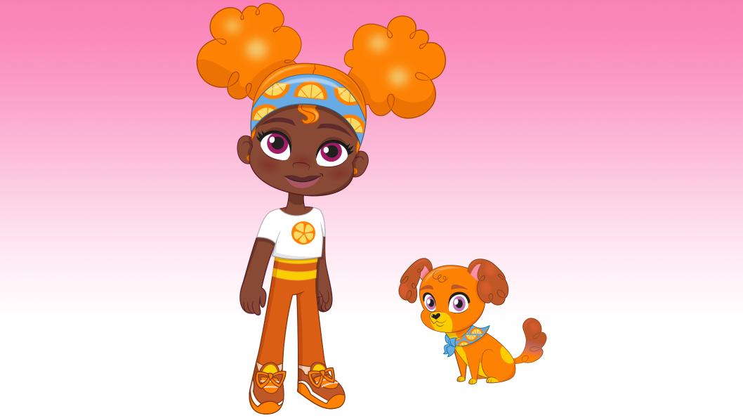 A girl with curly orange hair wearing orange pants, standing next to an orange dog2.