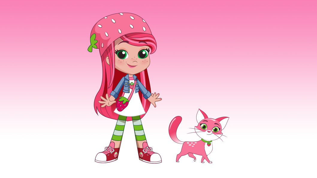 A girl with long pink hair, wearing a pink strawberry hat standing beside a pink cat.