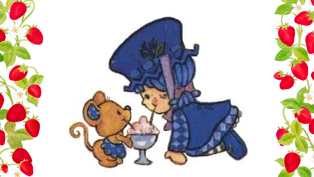 A young girl in a blue outfit and a brown mouse sitting on the floor sipping on the same drink.