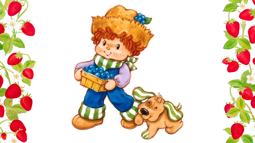 A red haired boy carrying a basket of blueberries and walking beside his brown dog.