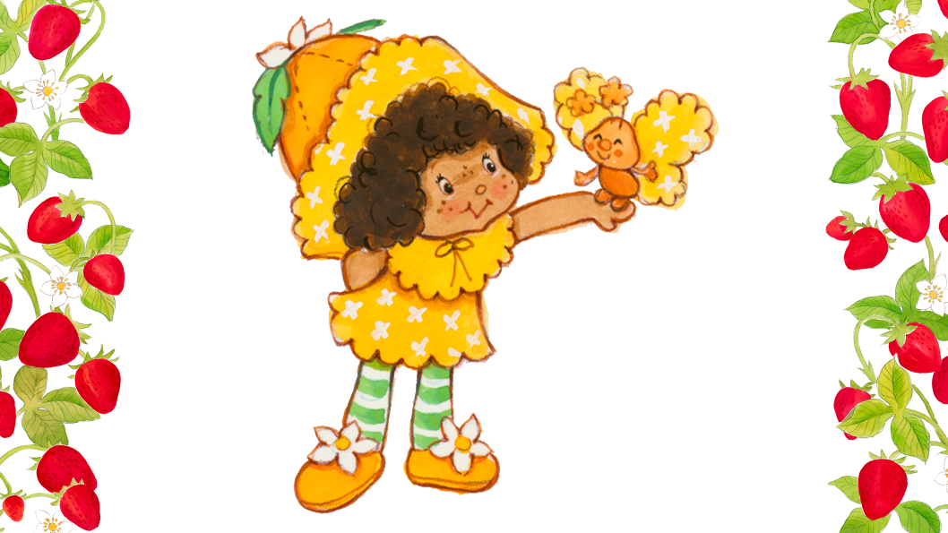 A girl with brown hair wearing a large orange hat and an orange dress, holding an orange butterly.