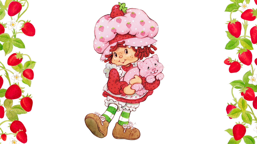 A young girl wearing a pink dress, a large strawberry hat, holding a pink cat in her arms.