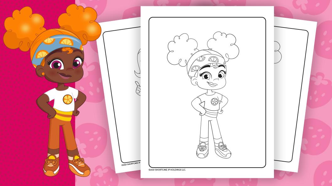 Orange Blossom and Pupcake colouring sheet