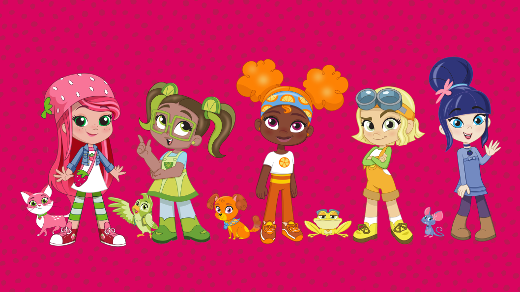 A bunch of characters in various colours standing in a line in front of a hot pink background.