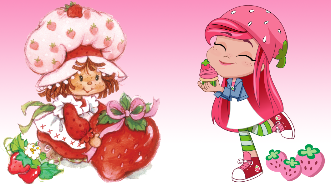 Two cute characters with pink hair, a pink strawberry hat standing in front of each other.